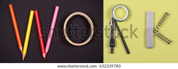Inscription work on a bright background lined with office supplies