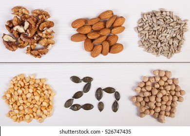 Inscription Zn, ingredients or products containing zinc and dietary fiber on white board, natural sources of minerals, healthy lifestyle and nutrition