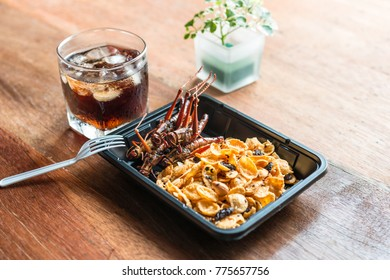 Insect food - Cereal, cornflakes grasshopper fried insect on the black plate on wooden table background. Insect food is the healthy meal high protein diet concept, popular snack food in Thailand