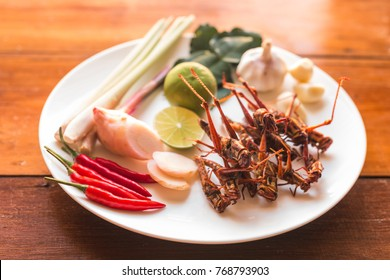 Insect food - Grasshopper fried insect plates with vegetables on an old wooden background. Insect food is the healthy meal high protein diet concept.