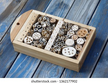 Insect hotel made of reed and drilled holes in wood of different diameter to suit all kind of insects