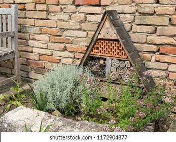 An insect hotel standing in front of a brick wall in a garden with various plants