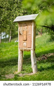 Insect hotel - wooden house made for bugs and solitary insect (bees, wasps,...)