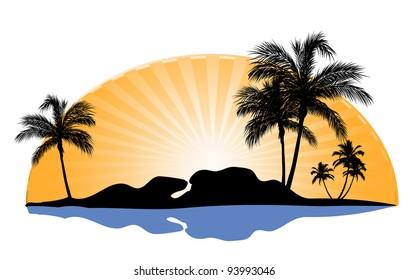 insel mit palmen und meer