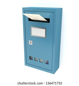 Inserting envelope into blue mailbox