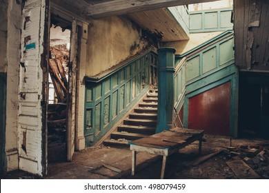 Inside abandoned manor in Makarovka, Kursk region