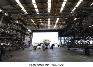 Inside aerospace hangar