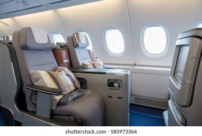 Inside the Airbus A380 business class, luxurious interior, comfortable seats with screens in the biggest commercial airplane in the world, Sofia Airport, Bulgaria, October 16, 2016.