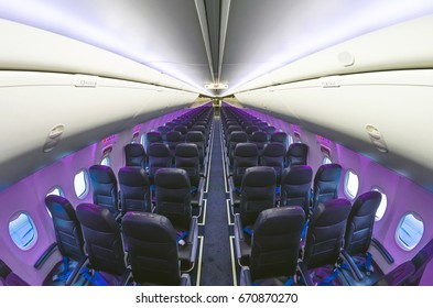 Inside airplane light view in passenger seats