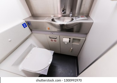 Inside of airplane toilet