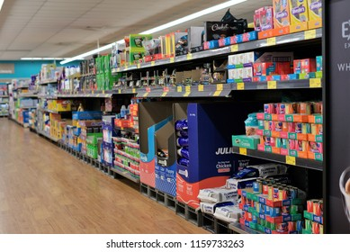 Inside Aldi store in Australian town of Kempsey in New South Wales on 13 August 2018. Shelves full of products inside grocery shop. Illustrative editorial.