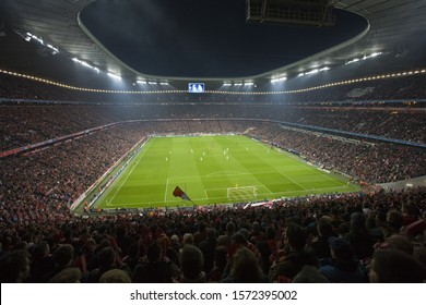 Inside Allianz Arena, Soccer Stadium at night, Munich, Germany