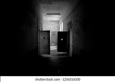 Inside Amasra old prision b&w