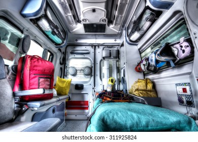 Inside of an ambulance in HDR