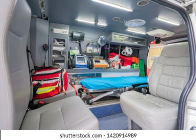 Inside of an ambulance for the hospital.