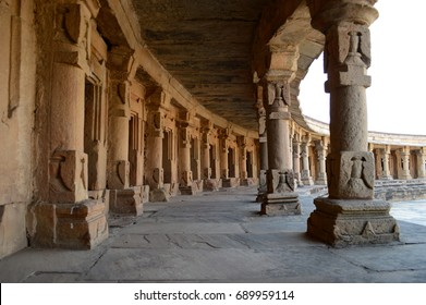 Inside of an ancient hindu temple in morena, India