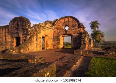 Inside the ancient Jesuit ruins of the Mission of Jesus de Tavarangue, Paraguay