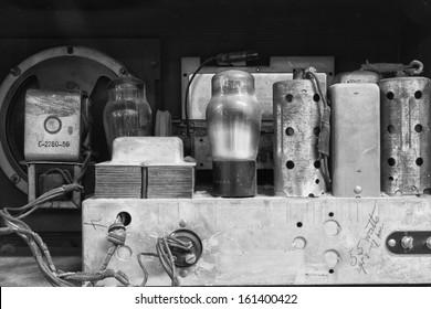 Inside an Antique Radio Set - Antique Radio Set Complete with Vacuum Tube