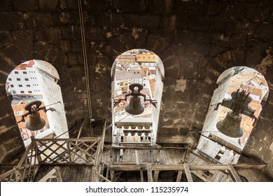 Inside an antique tower bell