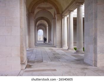 Inside the Arras World War One War Memorial in Northern France