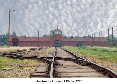 Inside Auschwitz ii Birkenau  concentration and extermination camp. Main building  built and operated by the Third Reich in German-occupied Poland during the world war ii