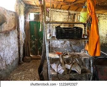 Inside a barn.