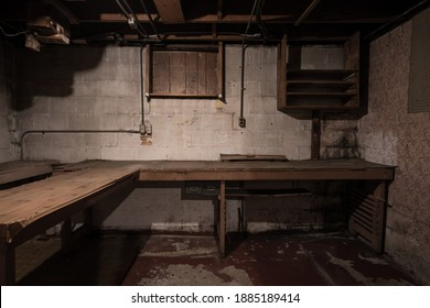 Inside the basement of an old creepy, empty house.The door to this room had the words