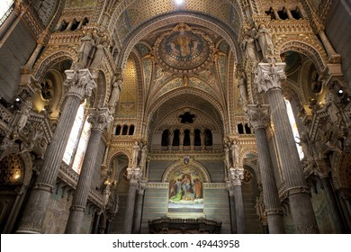 Inside of the Basilica of Notre-Dame de Fourviere in Lyon, France
