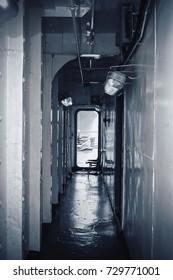 Inside battleship walkway for background