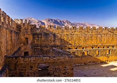 Inside bloody castle and fortress of Frangokastello, island of Crete, Greece