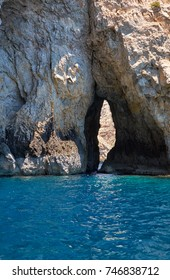 Inside Blue Grotto - nature landmark on south part of Malta island