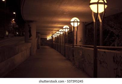 inside the bridge tunnel city at night