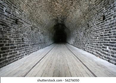 Inside the Brockville Railway Tunnel, Canada's first railway tunnel, completed in 1860. Brockville, Ontario, Canada.
