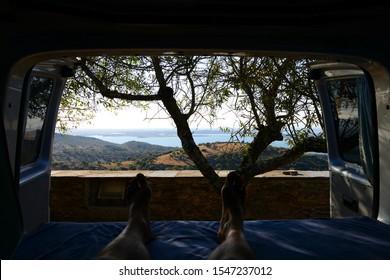 Inside a campervan looking at nice landscape of Monsaraz in Alentejo, Portugal