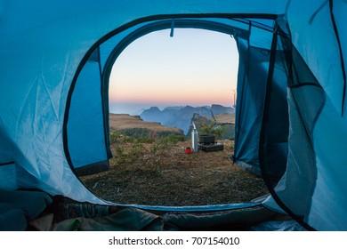 Inside a camping tent, looking to Espraiado Canyon