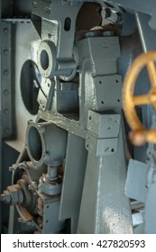 Inside cannon gun of the old warship,close up detail.