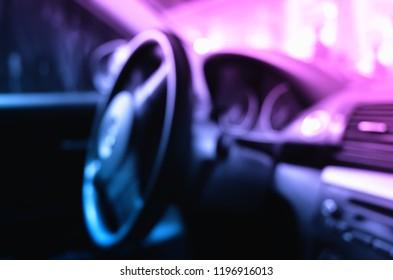 Inside car: transporation wheel bokeh background