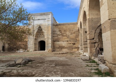 Inside the Caravanserai of Sulanhani, built in 1229. Caravans on the silk road came here for a safe place to sleep, eat, rest, and prepare for the jouney ahead, Aksaray, Turkey.
