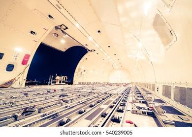 Inside cargo freighter - retro vintage filter effect