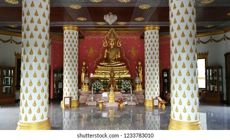 Inside the church at the temple of Buddhis is located near Pattaya, Thailand.