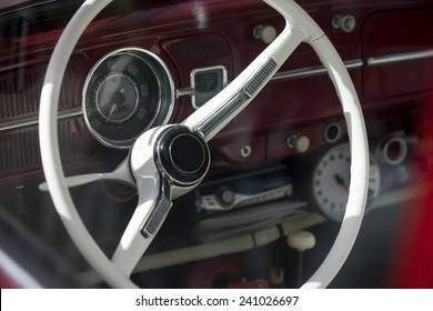 Inside of a classic car