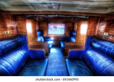 Inside a classic steam train era carriage.