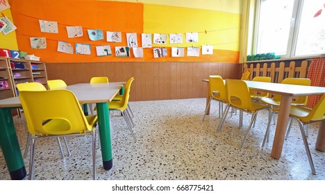inside a classroom of a kindergarden without people