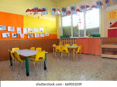 inside a classroom of a kindergarden without people and many decorations in the wall