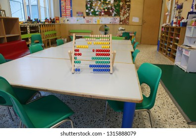 inside a classroom of kindergarten and an old wooden abacus  and small chairs