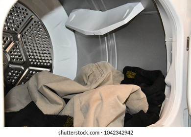 inside clothes dryer - with clothes