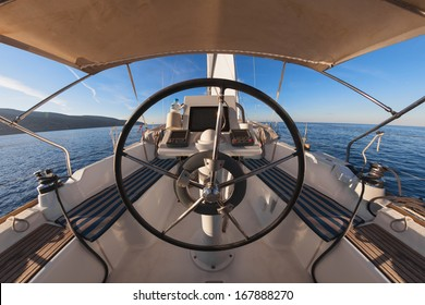 Inside the cockpit of sailing yacht