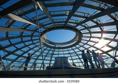 Inside of the Cupola on the top of Reichstag Building in Berlin, Germany