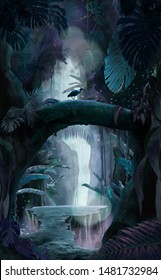 Inside a deep mystical jungle canyon at night, can be used as background, wallpaper