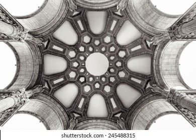 Inside the dome of the Palace of Fine Arts in San Francisco, California.